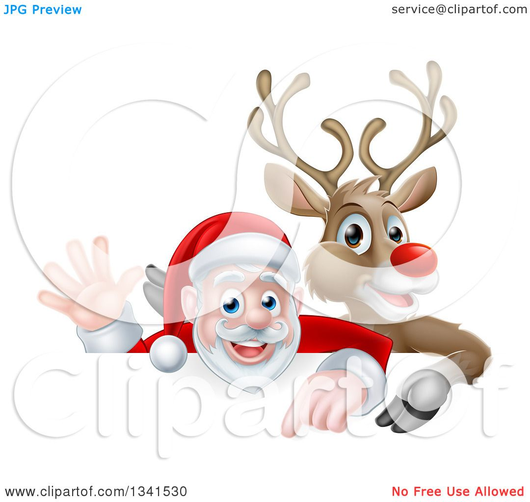 clipart of a cartoon christmas rudolph the red nosed reindeer and