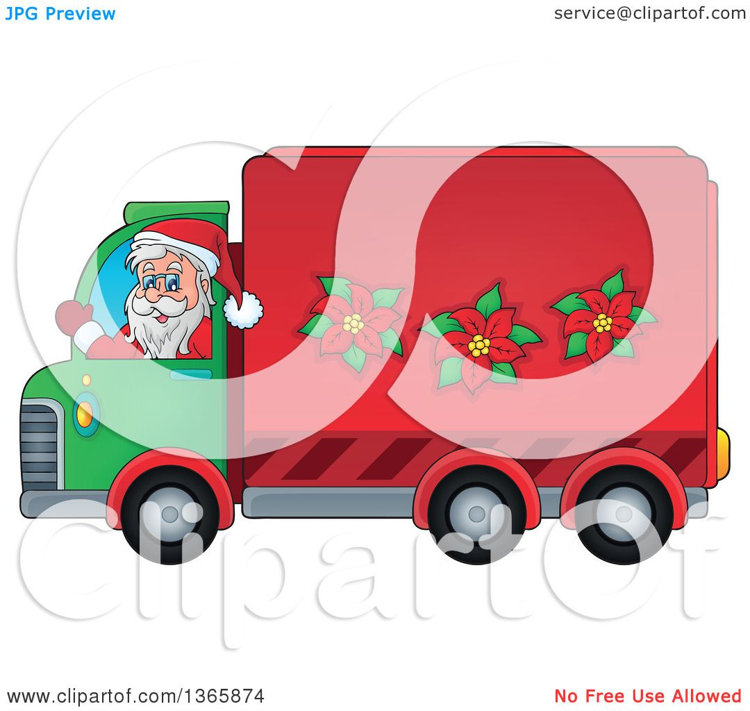 clipart of a cartoon christmas santa claus driving a delivery