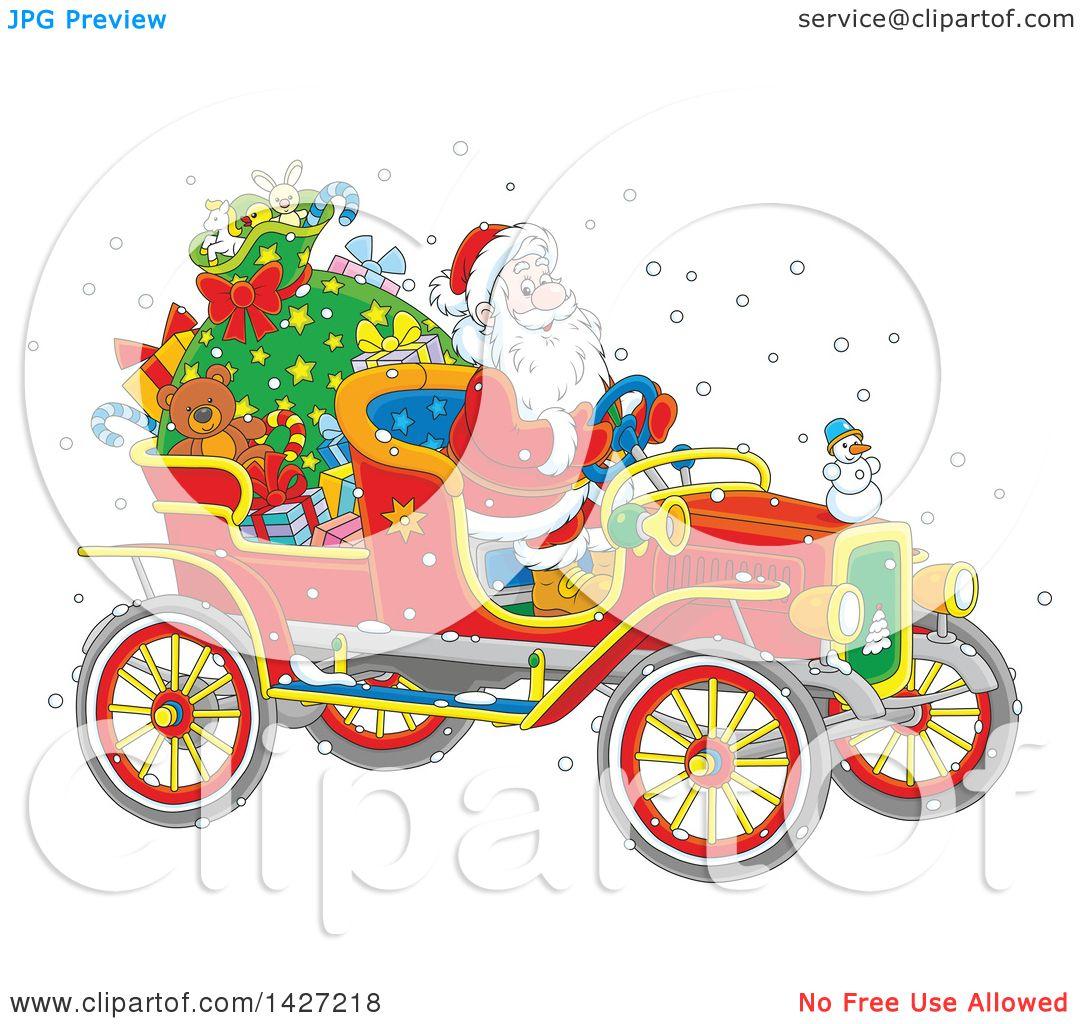 Clipart Of A Cartoon Christmas Santa Claus Driving A