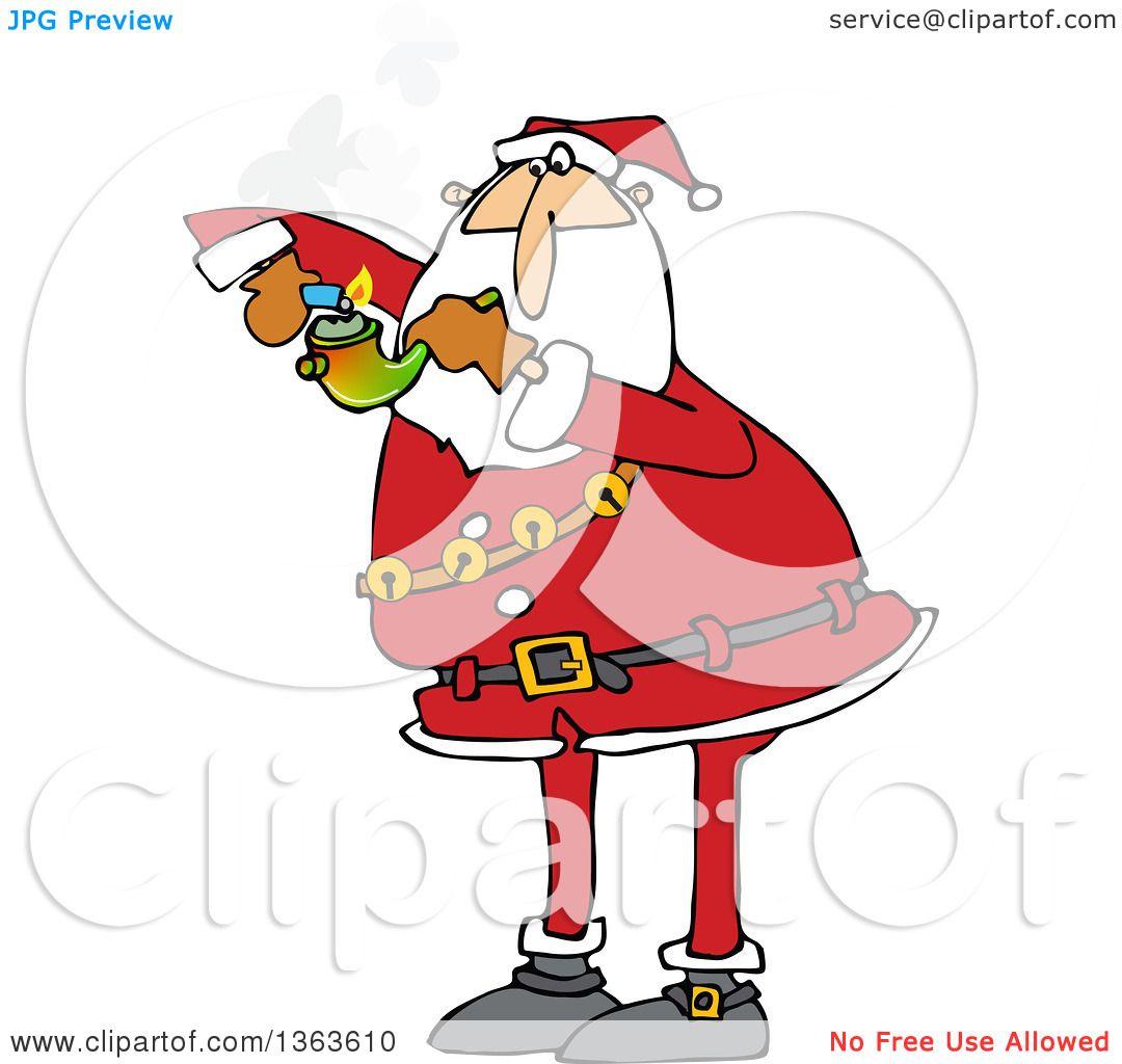 clipart of a cartoon christmas santa claus smoking pot with a pipe royalty free vector illustration by djart - Free Santa Claus