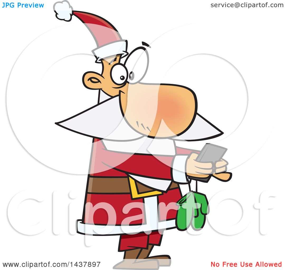 Clipart of a Cartoon Christmas Santa Claus Texting on a Smart ...