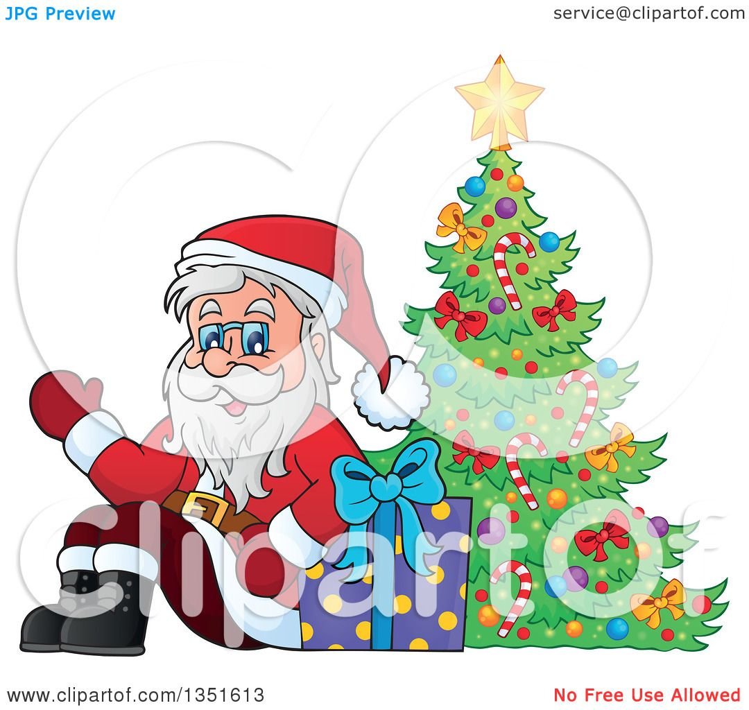 Clipart of a Cartoon Christmas Santa Claus Waving and Sitting with a Gift by a Christmas Tree