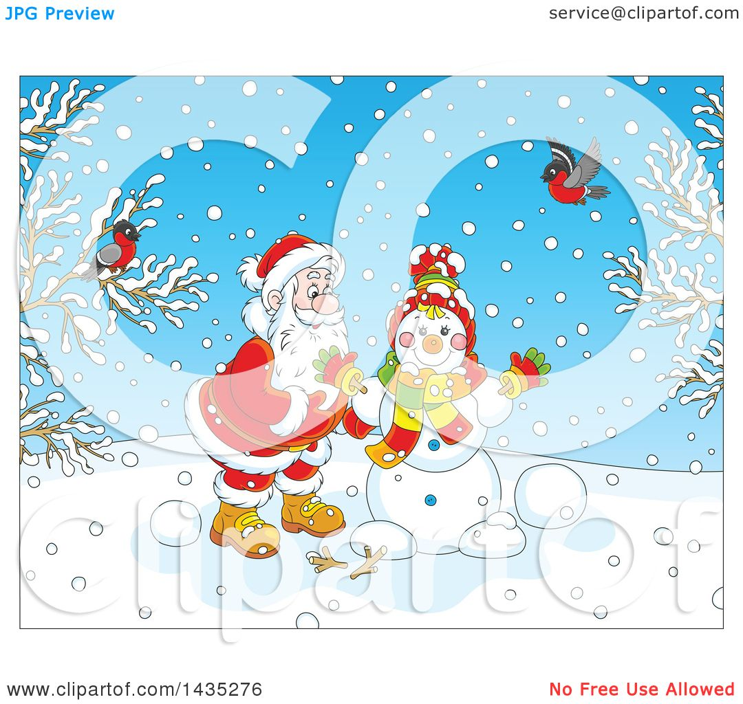 Clipart Of A Cartoon Christmas Scene Of Santa Claus Making