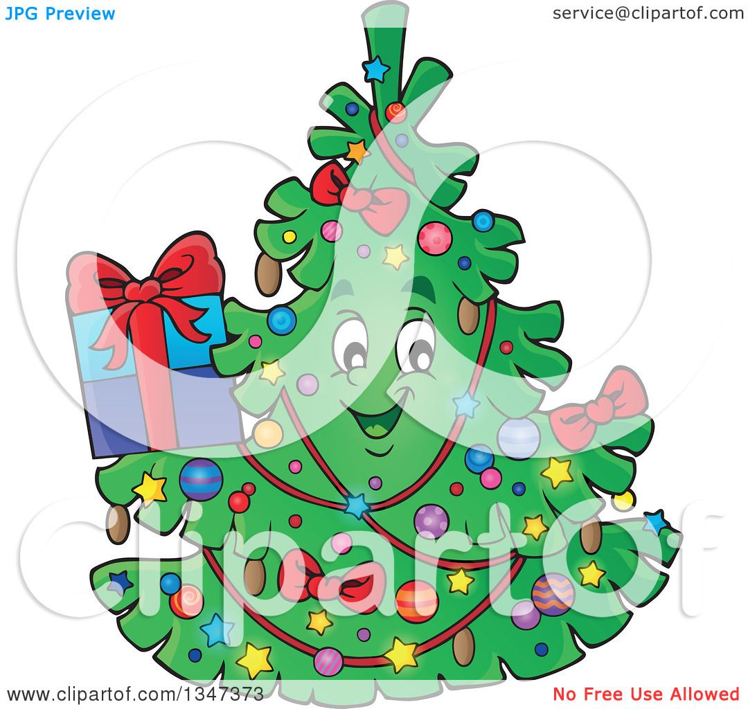 Clipart of a Cartoon Christmas Tree Character Holding a Present ...