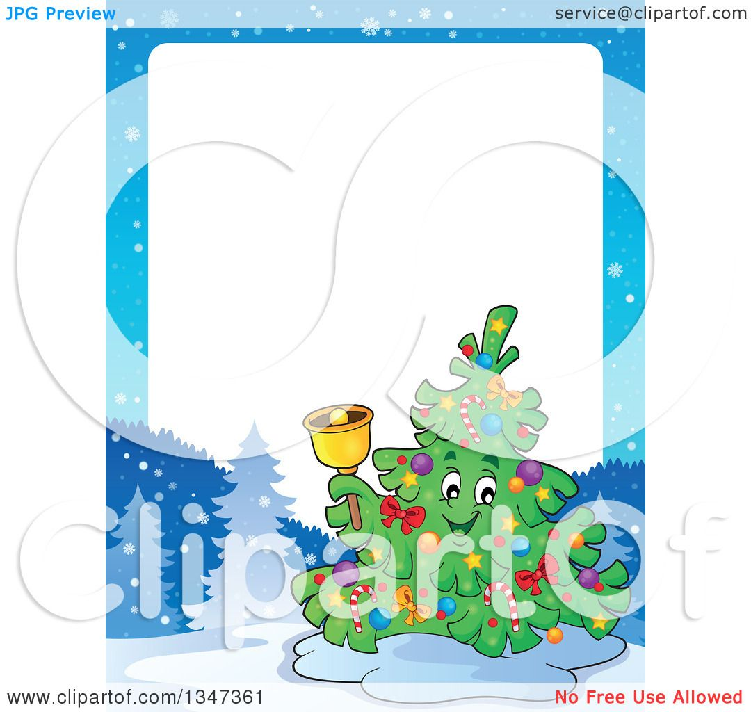 Clipart Of A Cartoon Christmas Tree Character Ringing Bell In Winter Landscape Border With White Text Space