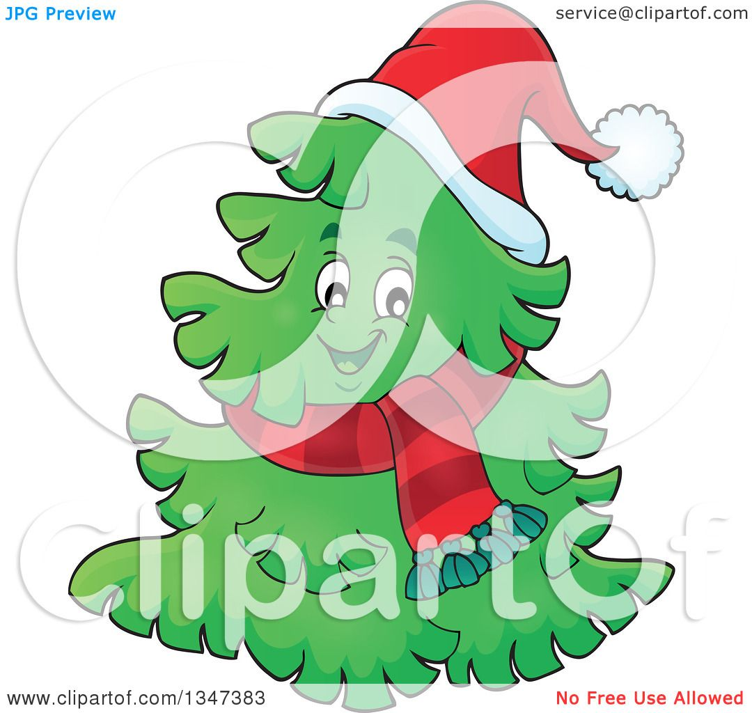 clipart of a cartoon christmas tree character wearing a scarf and