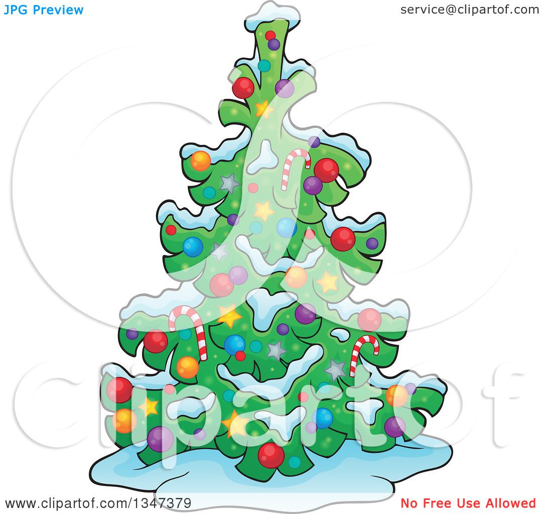 Clipart of a Cartoon Christmas Tree in the Snow - Royalty Free ...