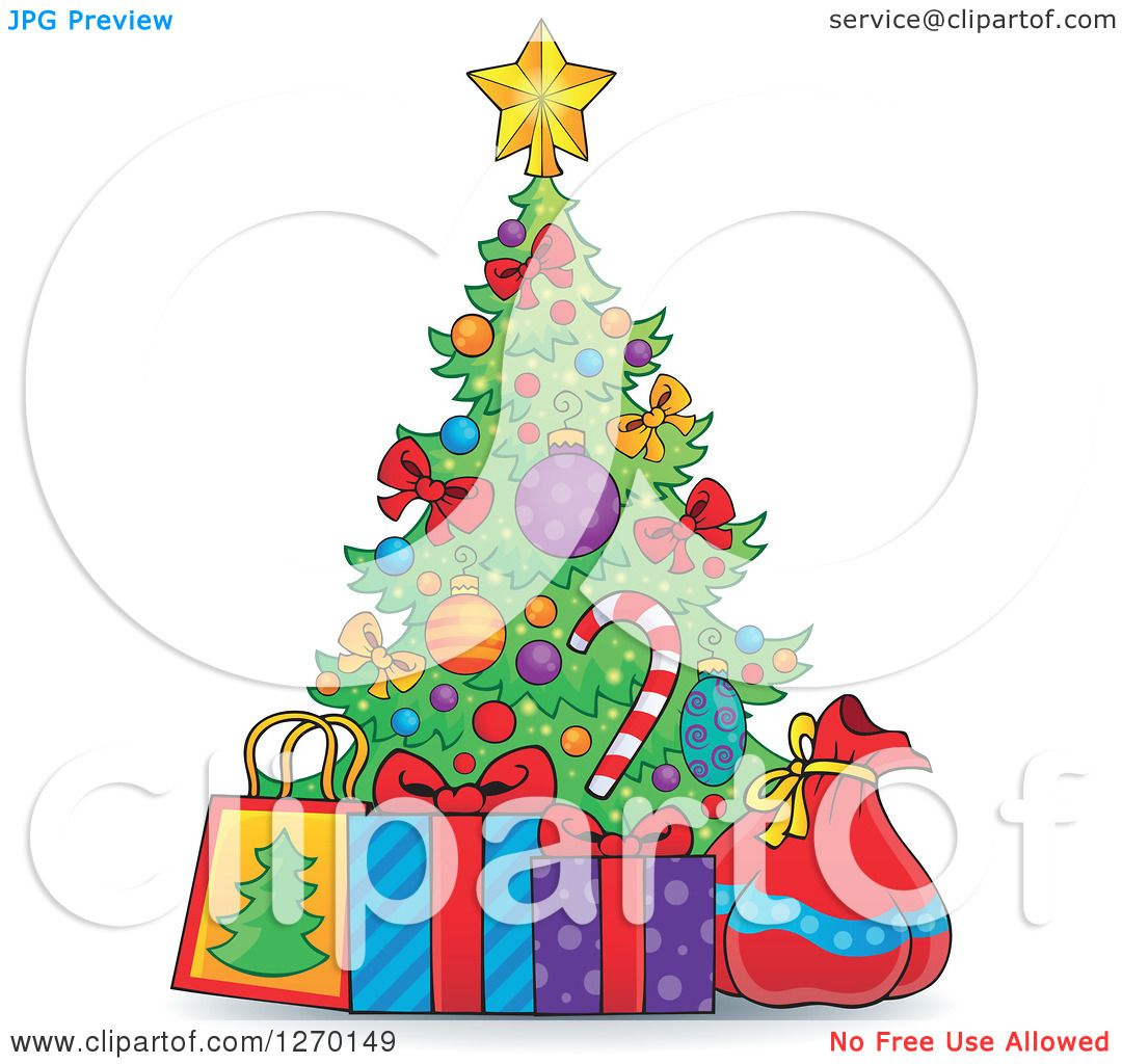 Clipart of a Cartoon Christmas Tree with Gift Bags a Sack