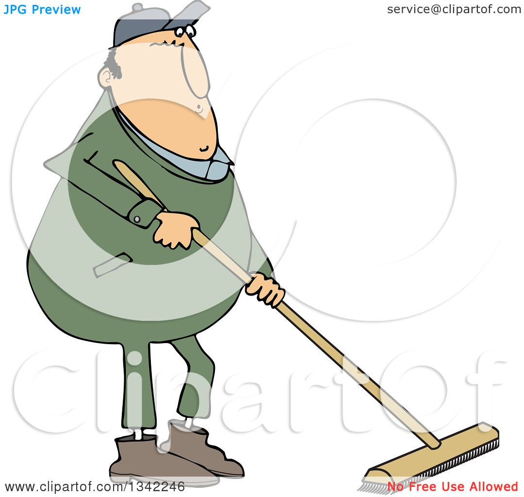 Clipart of a Cartoon Chubby Caucasian Worker Man Using a Push ...