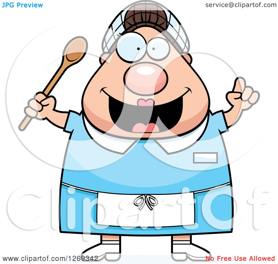 clipart of a cartoon chubby creative caucasian lunch lady School Lunch Clip Art School Lunch Clip Art