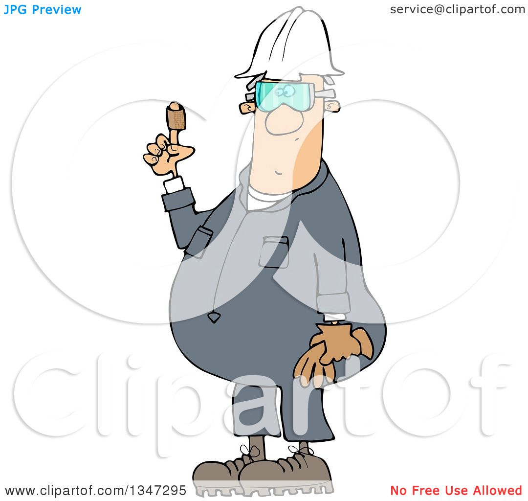 Clipart Of A Cartoon Chubby White Male Worker Holding Up A