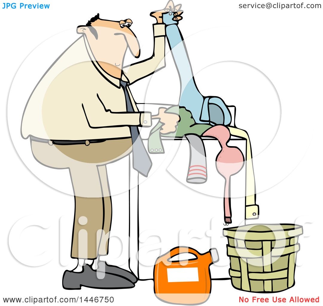 Clipart Of A Cartoon Chubby White Man Doing Laundry