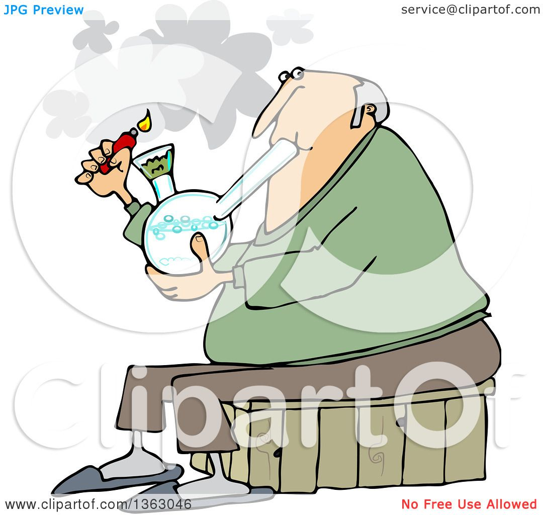 Clipart Of A Cartoon Chubby White Senior Man Lighting A Bong To Smoke Weed Royalty Free Vector Illustration By Djart 1363046
