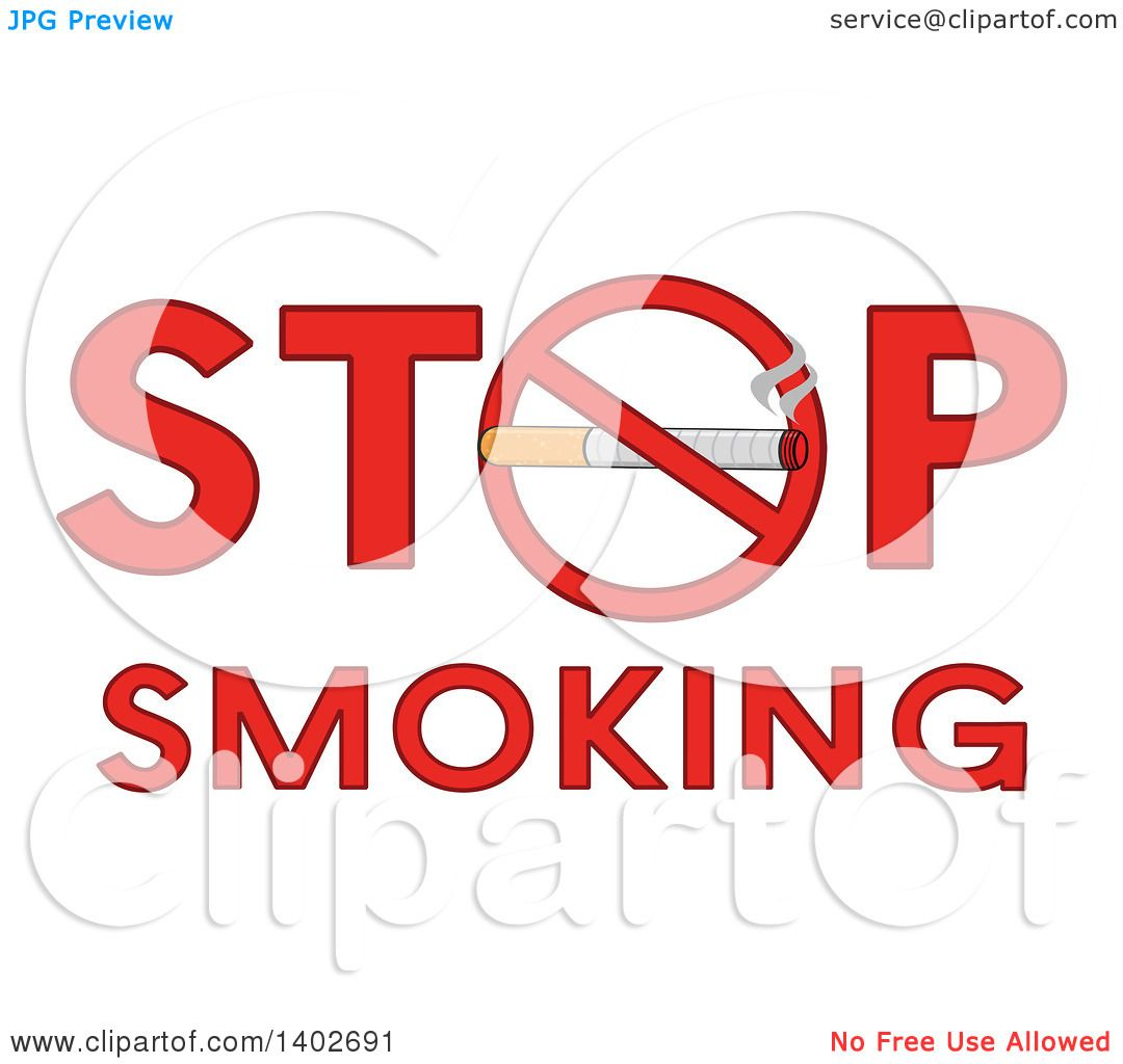 Clipart of a cartoon cigarette in a prohibited restricted symbol as clipart of a cartoon cigarette in a prohibited restricted symbol as the o in the words stop smoking royalty free vector illustration by hit toon buycottarizona Images