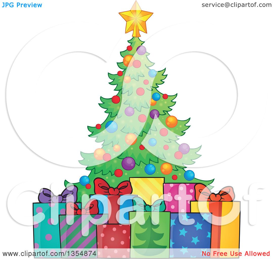 Clipart of a Cartoon Colorful Christmas Tree with Gifts - Royalty ...