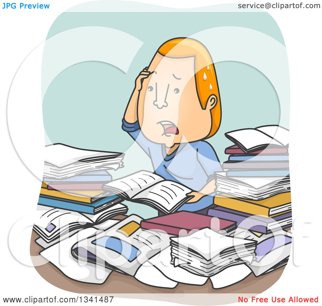 clipart of a cartoon confused and stressed red haired white man