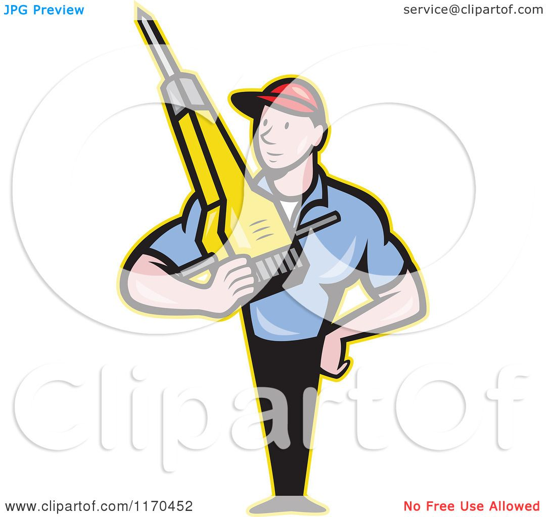 Clipart of a Cartoon Construction Worker Man Holding a Jackhammer ...