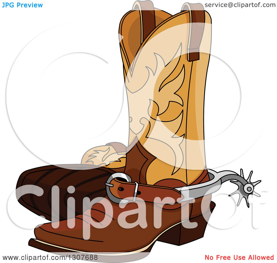 Clipart Of A Cartoon Cowboy Boots With Spurs Royalty