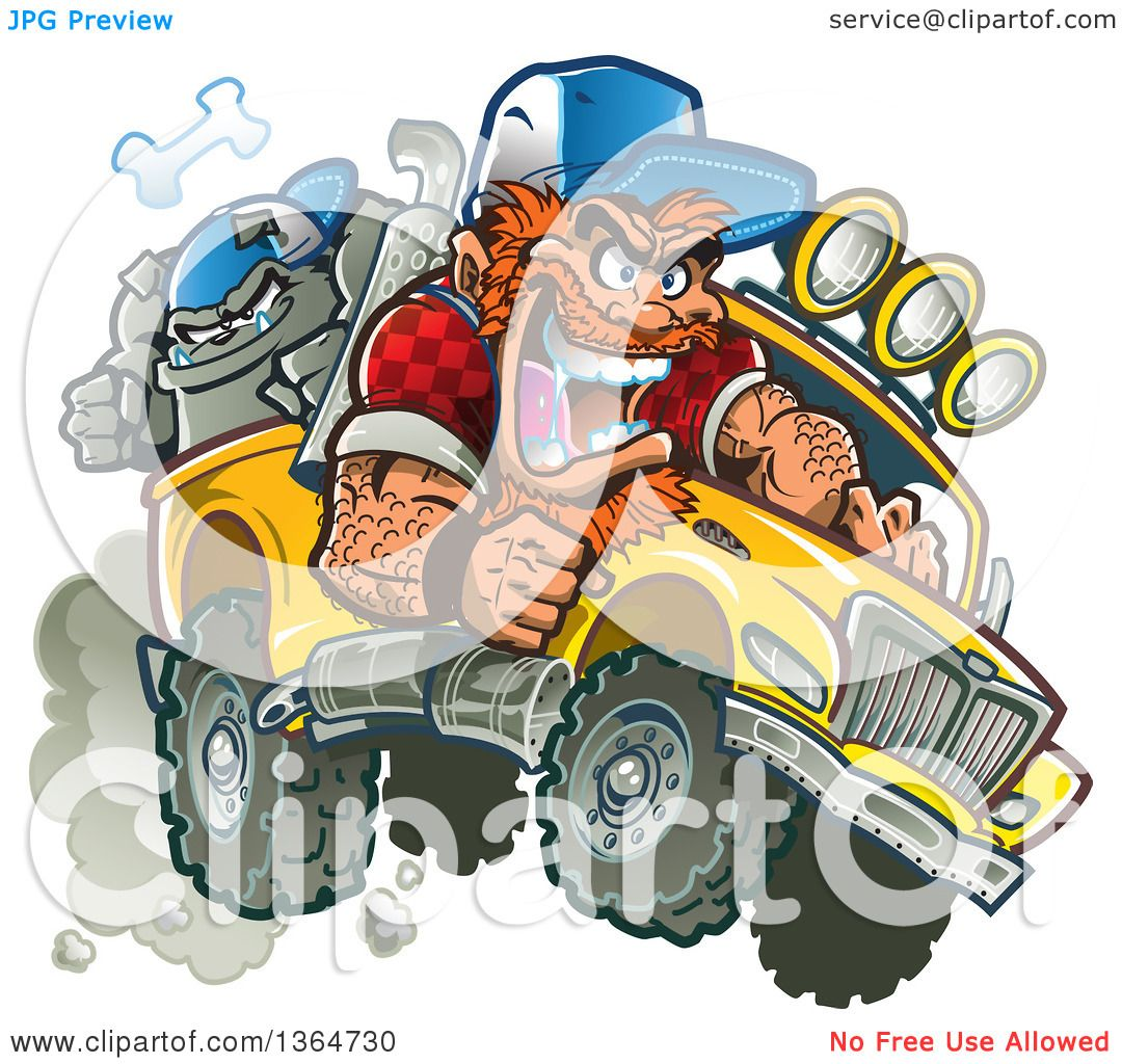 Clipart Of A Cartoon Crazy Red Haired White Redneck Man