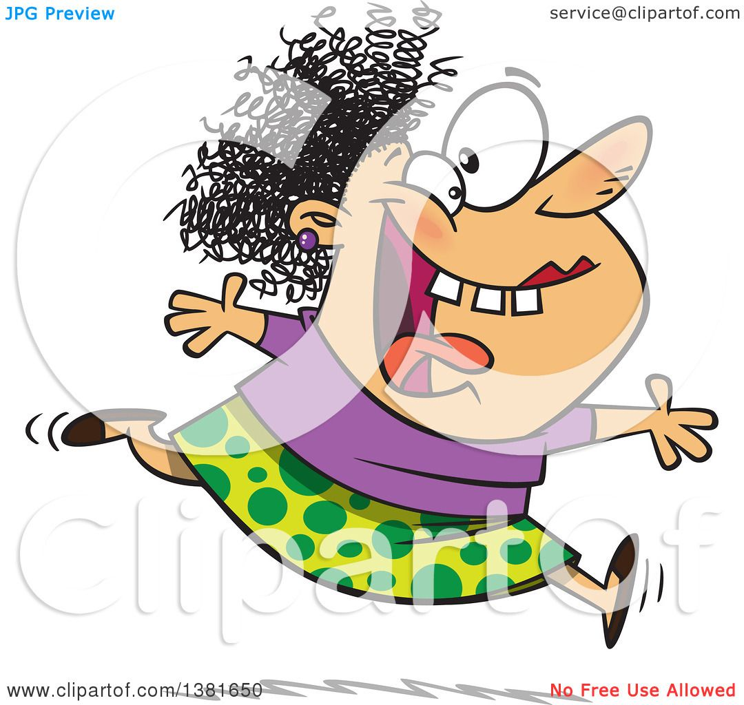 Clipart of a Cartoon Crazy Woman Running and Leaping on Insanity ...