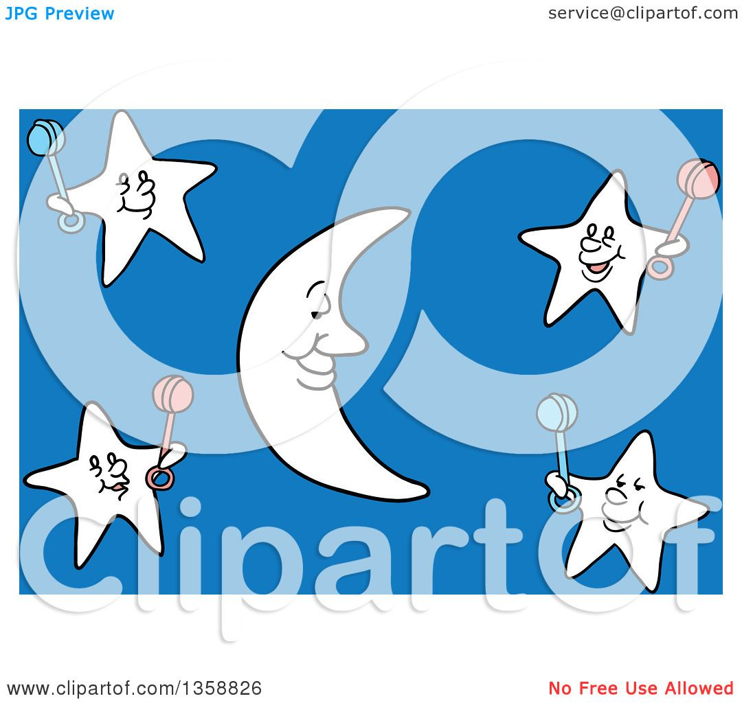 Clipart Of A Cartoon Crescent Moon And Stars Holding Baby Rattles