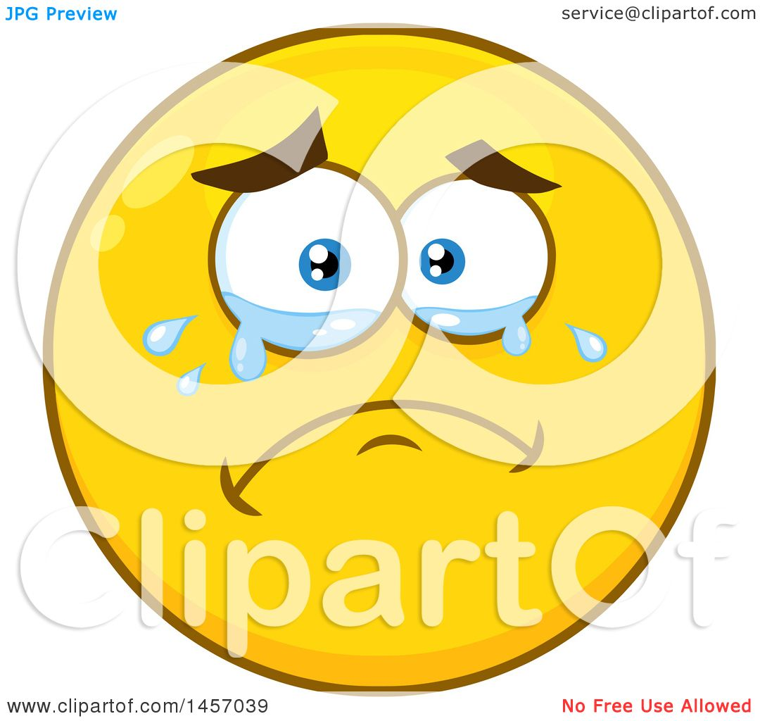 Clipart Of A Cartoon Crying Yellow Emoji Smiley Face