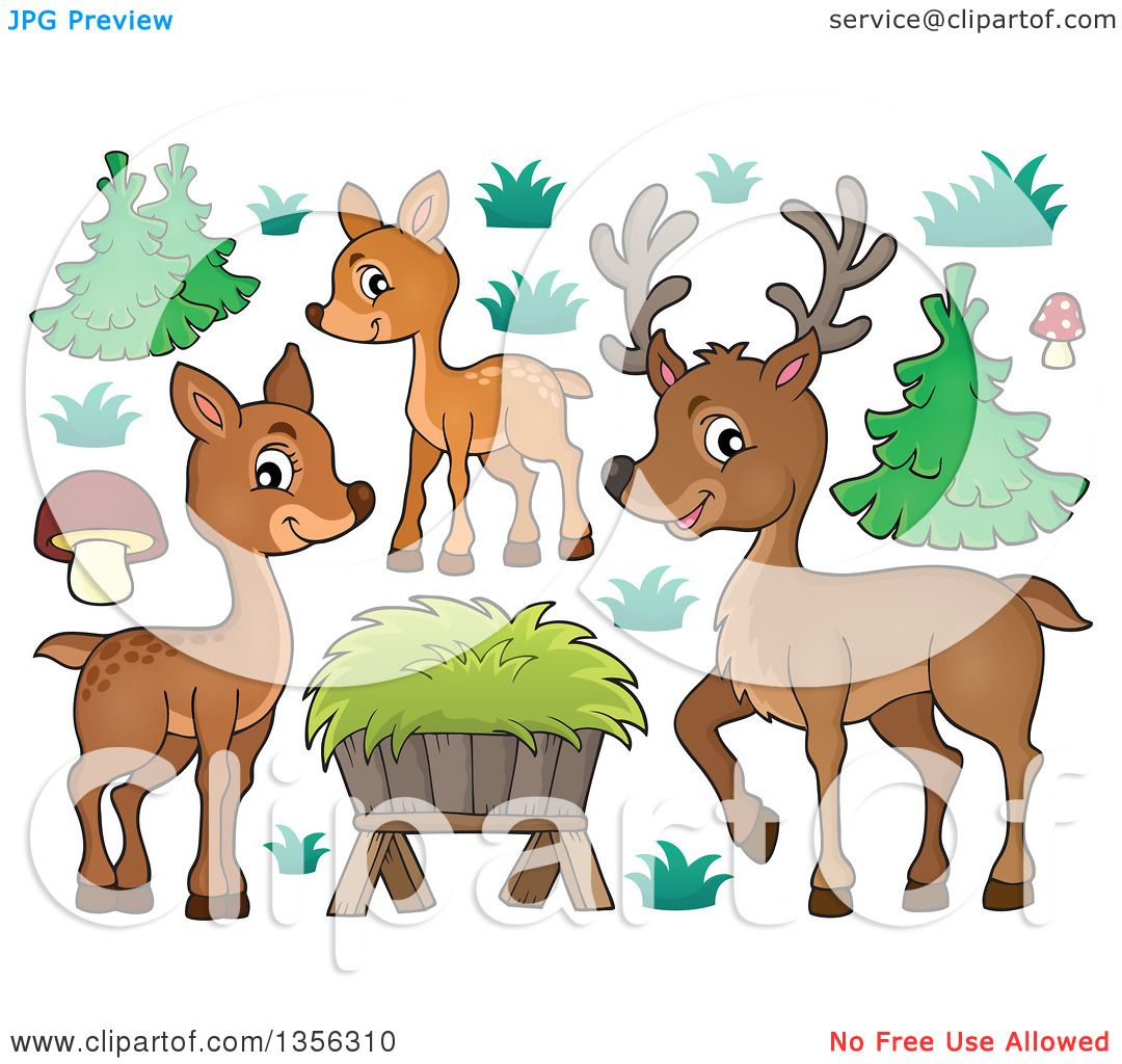 Clipart of a Cartoon Cute Deer Family, Hay and Plants ...