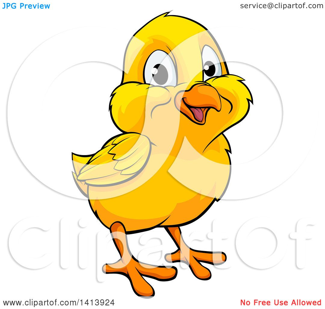 Clipart of a Cartoon Cute Happy Yellow Easter Chick ...