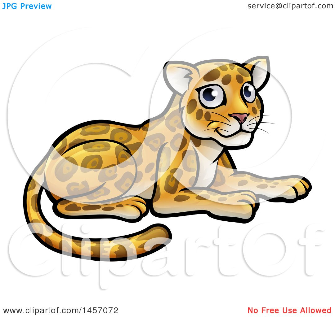 Clipart of a Cartoon Cute Leopard or Jaguar Resting - Royalty Free ... for Clipart Leopard Cute  165jwn