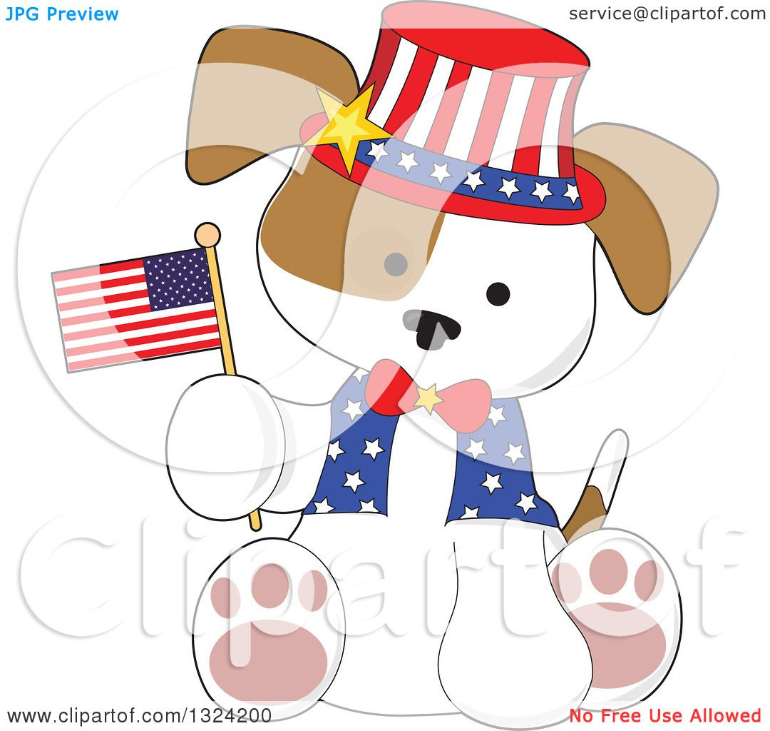 Clipart Of A Cartoon Cute Patriotic Fourth Of July Puppy