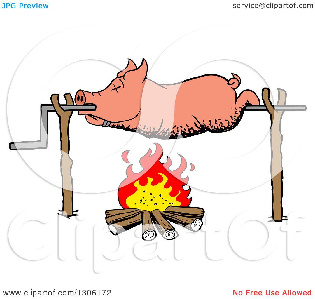 Clipart Of A Cartoon Dead Pig Roasing On Spit Over Fire Royalty