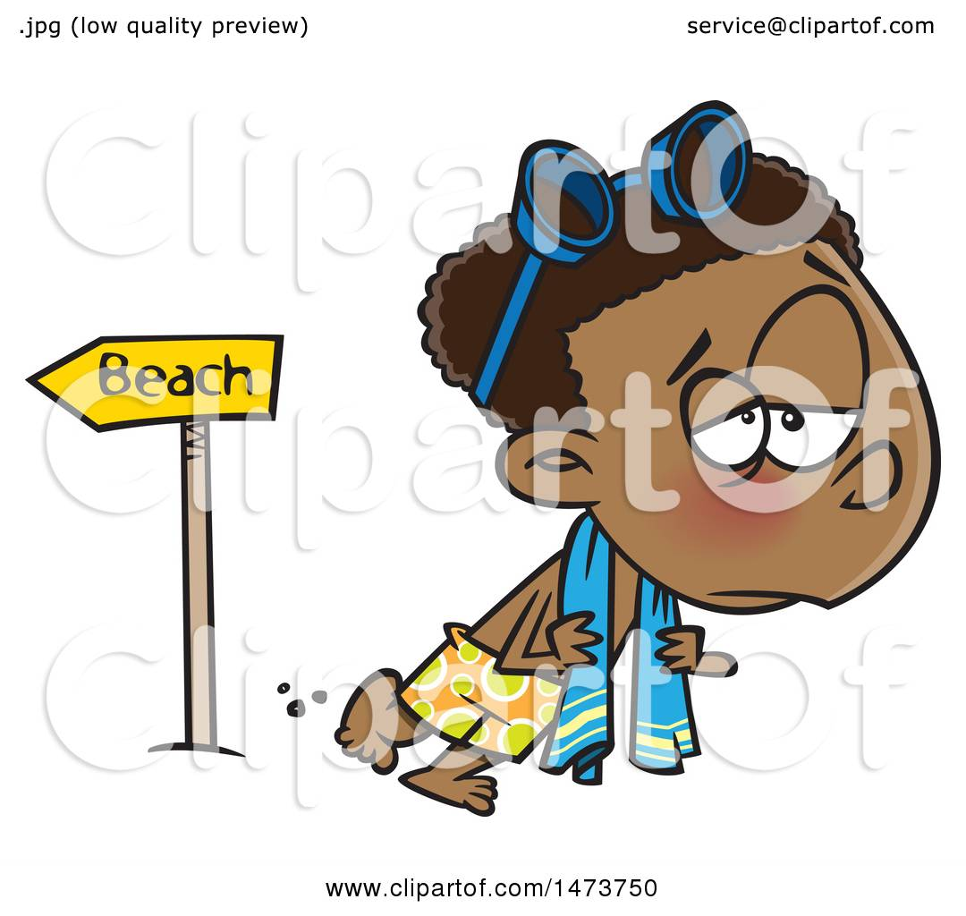 Clipart of a Cartoon Depressed Boy Leaving the Beach After ...