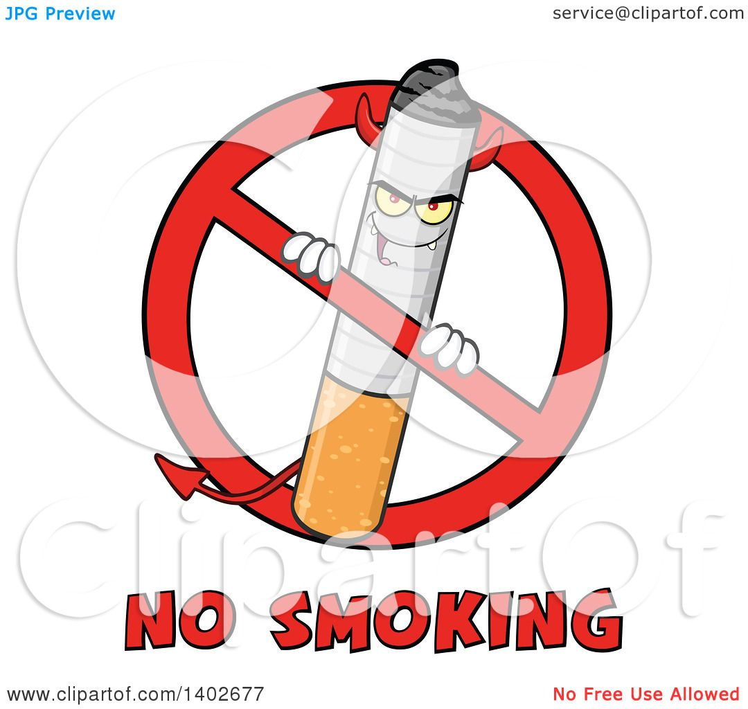 Clipart of a cartoon devil cigarette mascot character in a clipart of a cartoon devil cigarette mascot character in a prohibited symbol over no smoking text royalty free vector illustration by hit toon buycottarizona Images