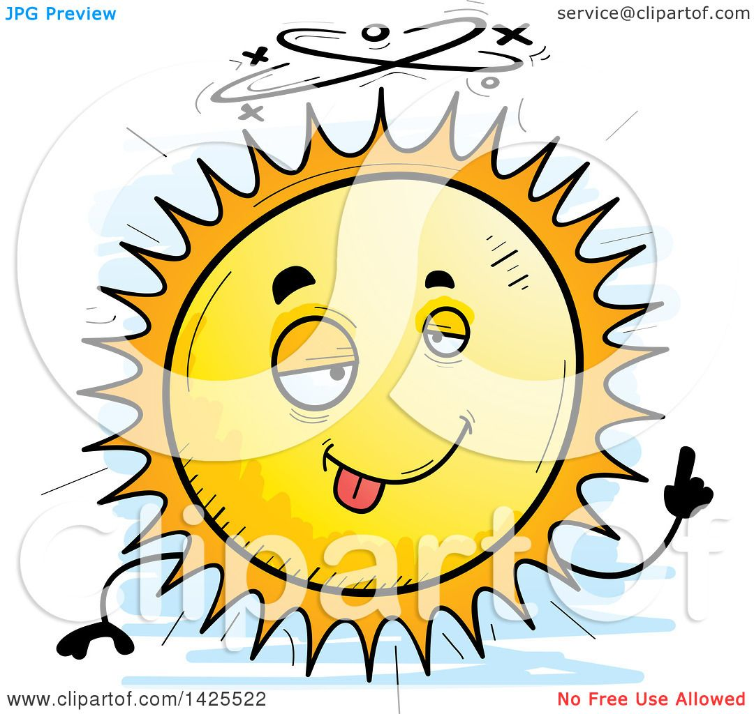 Clipart of a Cartoon Doodled Drunk Sun Character - Royalty Free Vector Illustration by ...