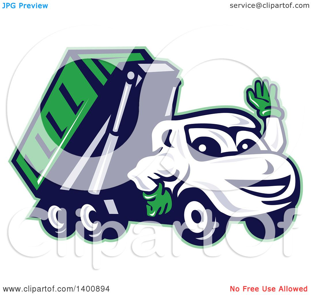 Clipart Of A Cartoon Dump Truck Mascot Waving Royalty