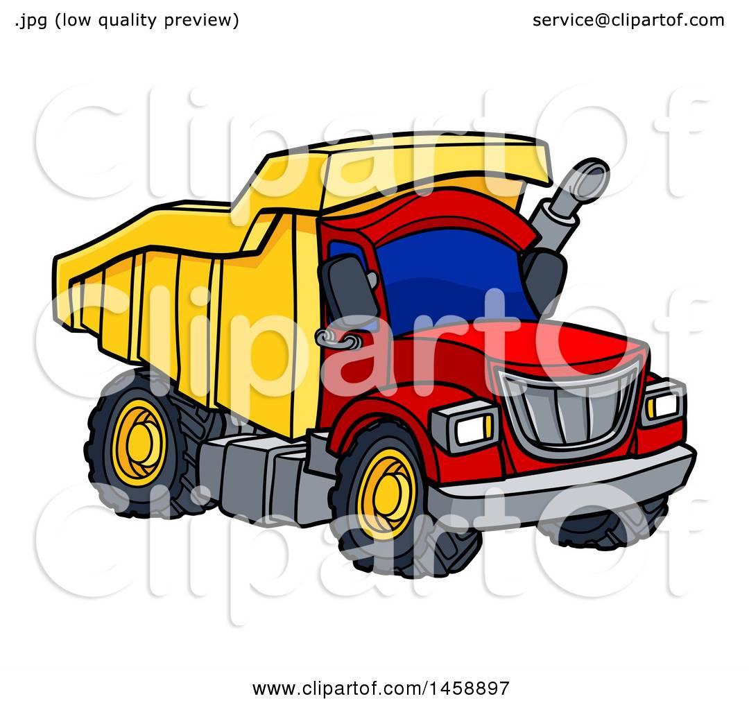 Clipart of a Cartoon Dump Truck Royalty Free Vector Illustration