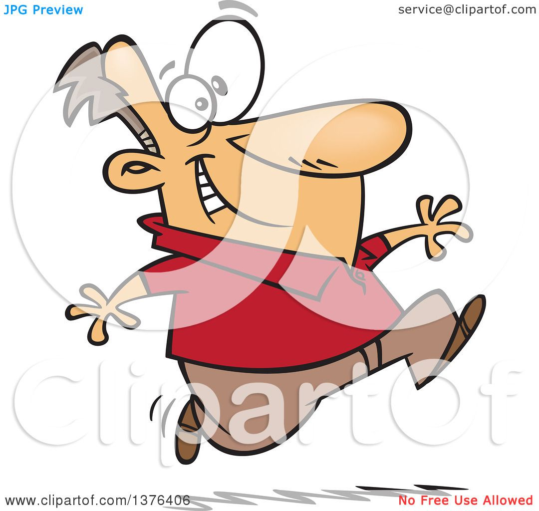 Clipart of a Cartoon Eager White Man Running - Royalty ...