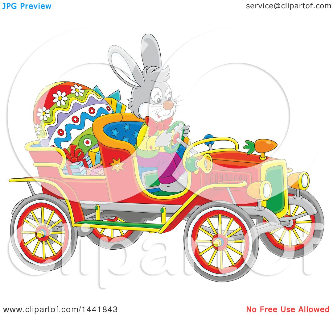Clipart of a cartoon easter bunny rabbit driving a vintage clipart of a cartoon easter bunny rabbit driving a vintage convertible car with a giant egg and gifts royalty free vector illustration by alex bannykh negle Choice Image