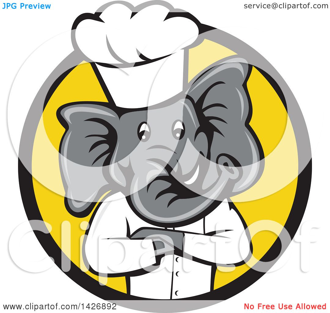 clipart of a cartoon elephant chef man with folded arms in a black