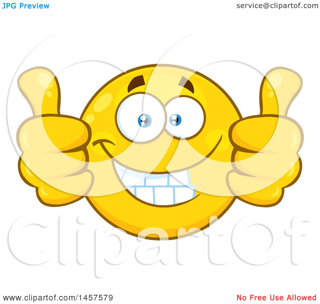 clipart of a cartoon emoji smiley face giving two thumbs up rh clipartof com Thumbs Up Emoji Thumbs Up Funny Face