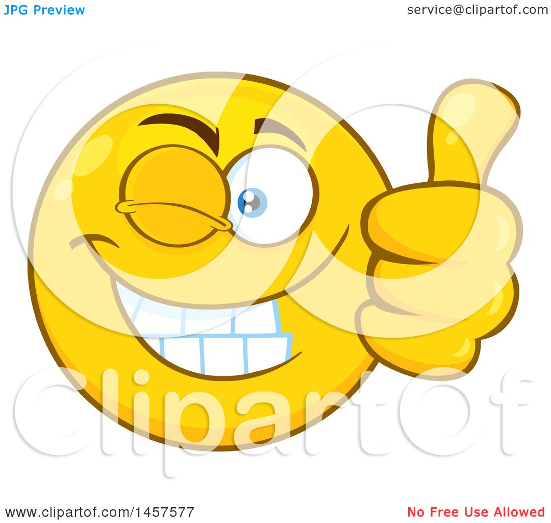 clipart of a cartoon emoji smiley face winking and giving a thumb up rh clipartof com Woman Thumbs Up Two Thumbs Up Face