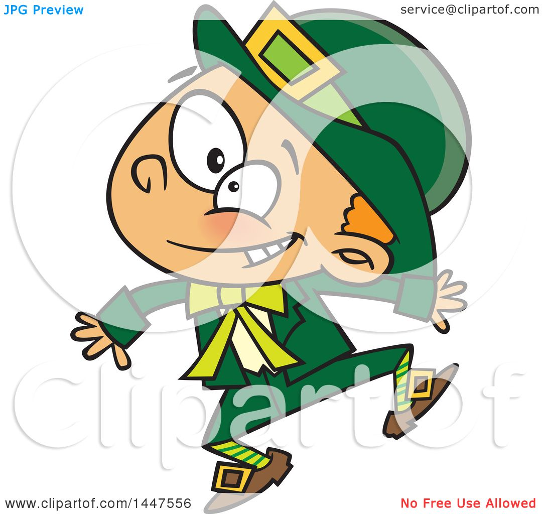 Clipart of a Cartoon Energetic St Patricks Day Leprechaun Boy ...