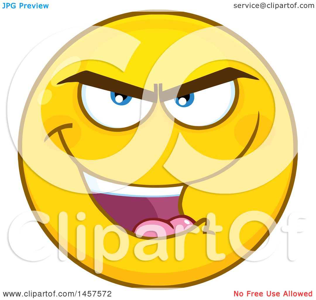 b4fc828545db Clipart of a Cartoon Evil Emoji Smiley Face - Royalty Free Vector  Illustration by Hit Toon