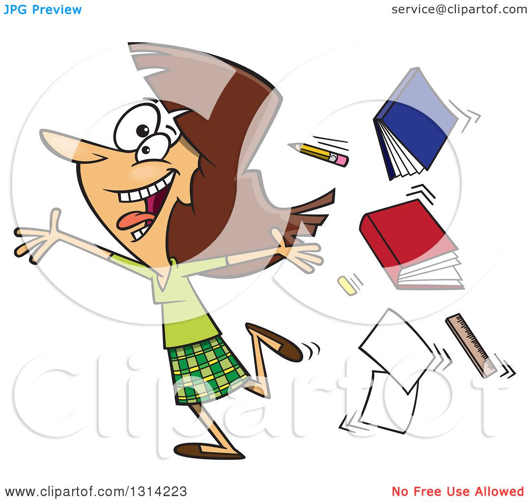 Clipart Of A Cartoon Excited Brunette White Female Teacher Running Gleefully And Throwing Up Books Royalty