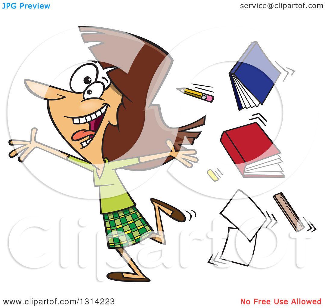 Clipart Of A Cartoon Excited Brunette White Female Teacher