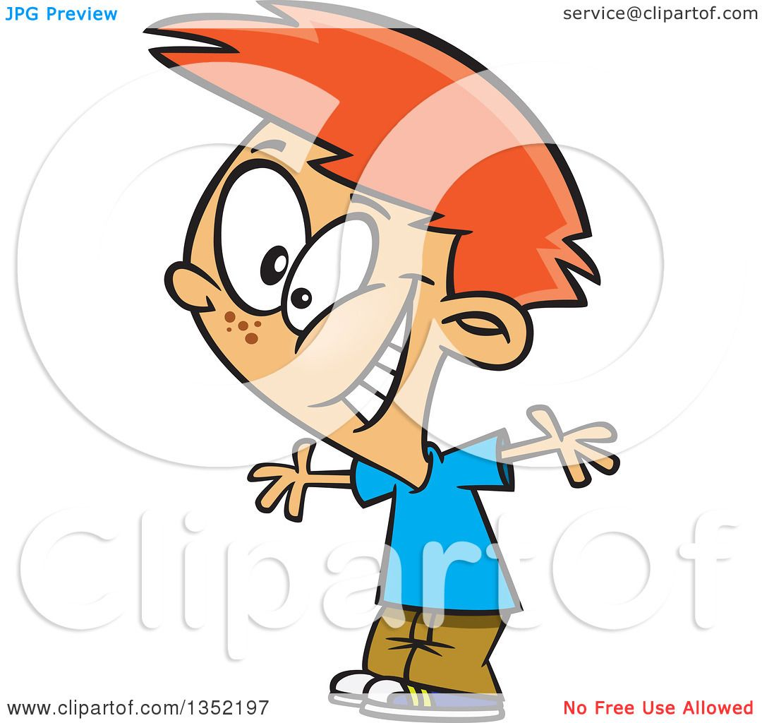 Clipart Of A Cartoon Excited Red Haired White Boy Cheering
