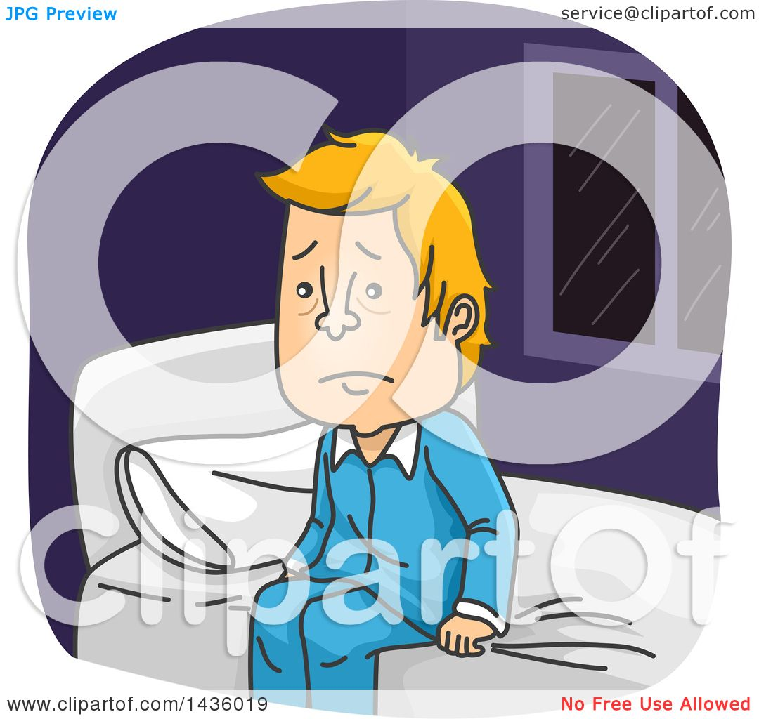 Clipart Of A Cartoon Exhausted Sleepless Blond White Man