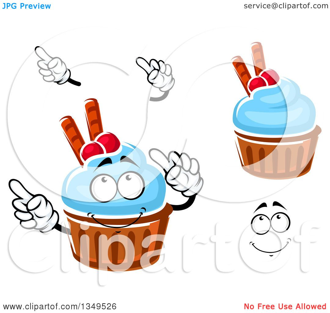 Clipart of a Cartoon Face, Hands and Cupcakes with Blue ... Cartoon Waffle With Face