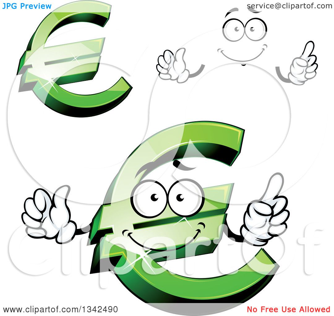 Clipart Of A Cartoon Face Hands And Green Euro Currency Symbols