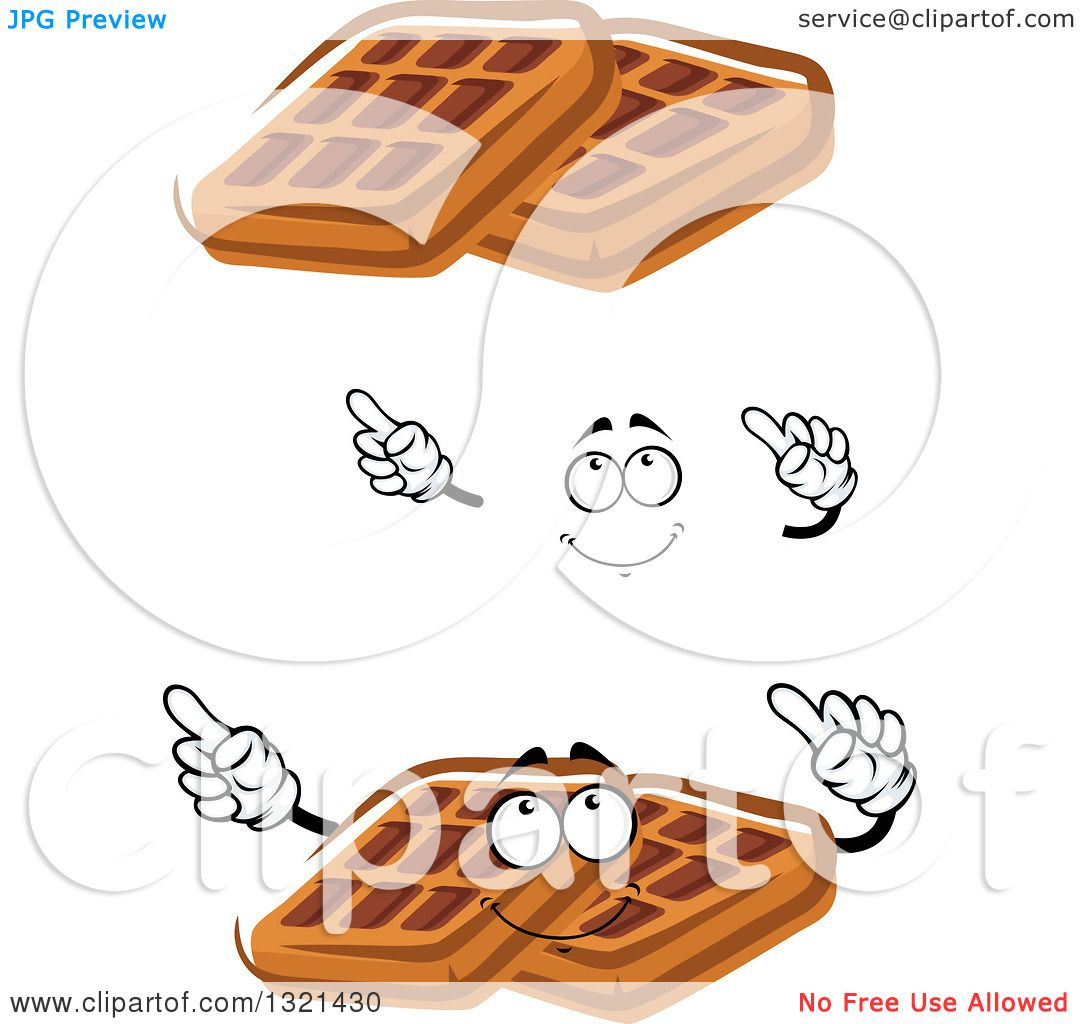 Clipart of a Cartoon Face, Hands and Waffles - Royalty ... Cartoon Waffle With Face
